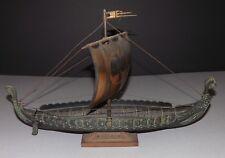 Mid Century Vintage Denmark Bronze Metal Viking Ship Nautical Boat Art Statue