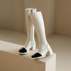 Western Women Leather Chunky Block Heel Knee High Boots Inside Zip Boot Oversize