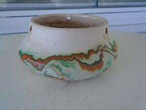 Vintage Nemadji Pottery Hanging Basket Green, Orange, Brown & Black Swirl