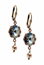Boho Blue Rivoli Round Stone Faux Pearl Earrings with Crystal by Swarovski
