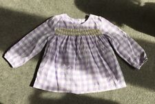 Girls BODEN Lilac Gingham Blouse/ Top with Yellow Embroidery (18-24 Months)