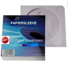 500 PAPIERHÜLLEN CD DVD PAPIER HÜLLE MIT FENSTER + KLAPPE PAPIER SLEEVES HÜLLEN