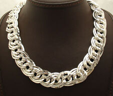 """18"""" Bold Hammered Double Curb Link Necklace Chain Real Sterling Silver 925"""