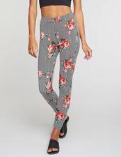 New Charlotte Russe Elastic High Waist Floral Striped Leggings SZ: MEDIUM