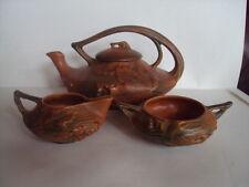 Vintage Original Roseville Pottery 3 Piece Bushberry Tea Set 2-T 2-S 2-C.