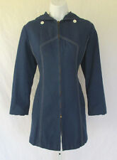VINTAGE 1960s 70s ETIENNE AIGNER BLUE CANVAS HOODED COAT WHITE STITCHING