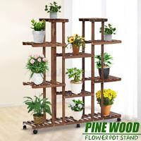 9 Tiers Plant Stand Indoor Mobile Flower Pot Holder Shelf Corner Display Rack US