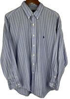 Men's Polo Ralph Lauren Blue Stripe Yarmouth Button Down Shirt Size 17 XL L/S