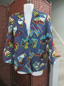 Women's 80's Saks Fifth Avenue Blazer Jacket All Over Pattern Paris Athens Small