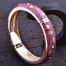 Fashion jewelry gold plated Purple Enamel bangle charms bracelet free shipping