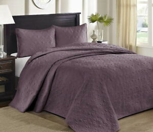 PURPLE 3pc King / Cal King 120x118 BEDSPREAD XXL SET : QUILT COVERLET MATELASSE