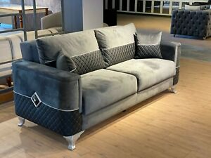 Neptune 3+2 Seater Sofa Bed Grey Plush Velvet With Black Leather High Quality