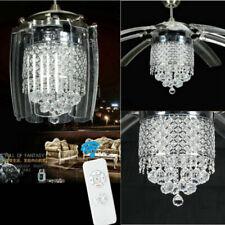 Luxury Crystal Ceiling Fan Light LED Chandelier w/ 8 Take-off Blades Remote 42