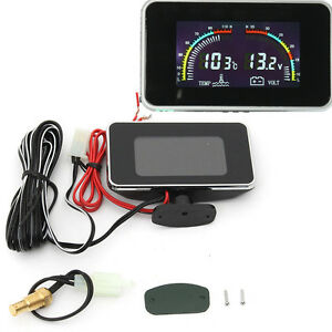 DC 9-36V Car LCD Digital Display Voltmeter Water Temperature Gauge Thermometer