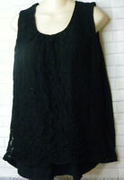 Talbots Black Tank Top Size 2X Lace Overlay Sleeveless Cami Gathered Scoop Neck