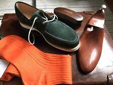 John Lobb, Isle Suede Deck White Westminter Green Men Shoes, Size 8 1/2 E