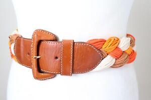 FURLA Wide Plaited Vintage 1980s Belt - Summer - Orange Fabric / Leather - XXS