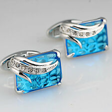 Blue Crystal silver Stainless Steel Mens Wedding Shirt Cufflinks snap vintage