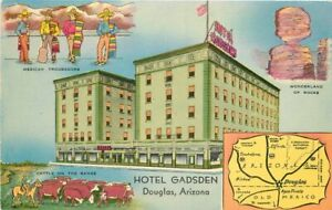 Associated Litho Douglas Arizona Hotel Gadsden roadside Postcard 21-2016
