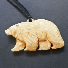 Hand Carved Bone Bear Necklace Carving Animal Pendant Jewellery Taxidermy
