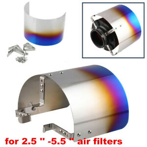 Universal Cone Stainless Steel Blue Car Heat Shield Air Intake Filter Cover