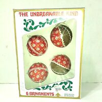 Bradford Unbreakable Vintage Plastic Christmas Tree Ornaments Lot Of 4 USA Box
