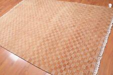 "6'1"" x 8'6"" Hand Knotted Checkerboard 100% Wool Tibetan Area Rug Modern Tan"