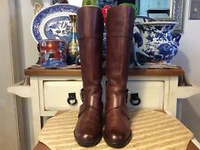 Fossil Brown Leather Tall Side Zip Buckle Boots Women's size 6M