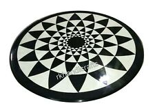 18 Inches Marble Coffee Table Top Inlay Corner Table with Geometrical Design