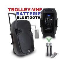 "CASSA ATTIVA RICARICABILE 500W 12"" TROLLEY WIRELESS USB SD BLUETOOTH BATTERIE"