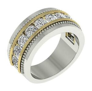 SI1 G 2.00 Ct Natural Diamond Men's Anniversary Ring 14K Two-Tone Gold 10.00 MM