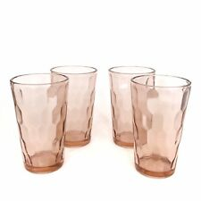 Vintage Jeannette Hex Optic Pink Depression Glass 12 Oz Water Tumblers Set Of 4