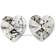2 Little 10mm Swarovski Crystal Faceted Heart Drop Charm Beads With Top Hole