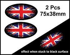 2pcs OVALE FADE TO BLACK & Union Jack Bandiera Britannica VINILE Auto Adesivo Decalcomania 75mm