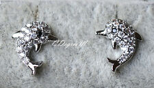 18k White Gold GP Silver Paved Crystal Dolphin Earring Studs Sensitive Ears Kids