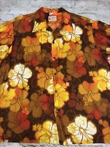Vintage Kramer's Honolulu Hawaiian Floral Short Sleeve Tropical Shirt Men Size X