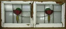 """PAIR OF OLD ENGLISH STAINED GLASS WINDOWS Pretty Floral 21.75"""" x 18.5"""" each"""