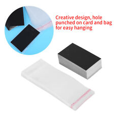 Black Jewelry Necklace Earring Display Cards W/ Self Adhesive Bags Clear 100sets