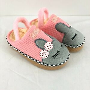 Toddler Girls Slippers Bunny Rabbit Sleep Bow Pink Faux Fur Lined Pink Size 7