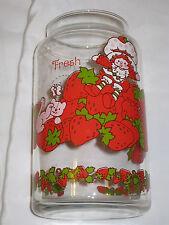 Vintage Strawberry Shortcake Glass Jar 'Fresh' Sitting On Strawberries With Cat