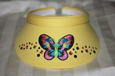 Visor Yellow One-Size with Butterlfy Patch Matching Rhinestones
