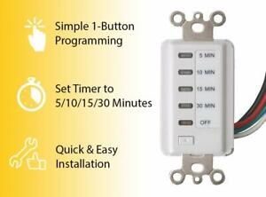 Bathroom Fan Auto Shut Off Timer 5-10-15-30 Minute Preset Countdown Wall Switch