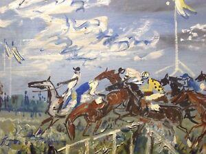 Mid 20th Century Expressionist Oil Painting Racecourse Steeplechase Gen PAUL