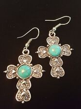 Cross Drop Danlge Earrings Silver Toned Turquoise Colored Round Center