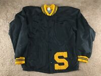 Vintage Russell Letterman Jacket Varsity S Patch Windbreaker Patch Black Yellow