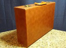 Vintage Antique Briefcase Faux Leather Darker Tan/Beige Hard-case