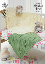 KING COLE PATTERN 3703.  BABY  BLANKETS.  COT & PRAM.  DOUBLE KNITTING..