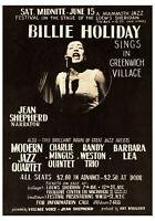 1957 Billie Holiday Greenwich Village 11 x 14 Concert Reproduction Ad Poster