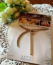 Darice Delicately Yours 16 & 19 In Layering Necklaces 2 Pc Set Moon Vert Bar New