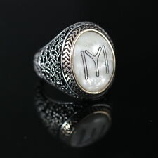 Turkish Handmade Ottoman 925K Sterling Silver Pearl Men's Ring Size 12